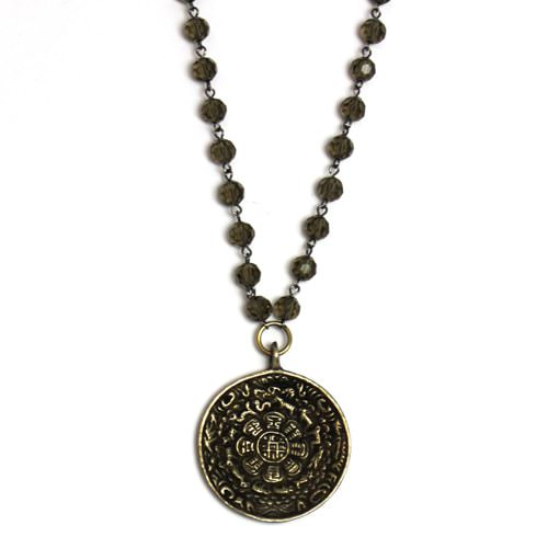 Brass Tibetan Calendar Amulet