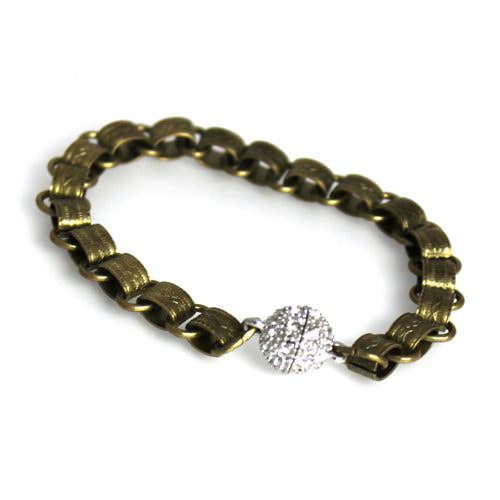 Bronze Link Bracelet with Pave Magnetic Clasp