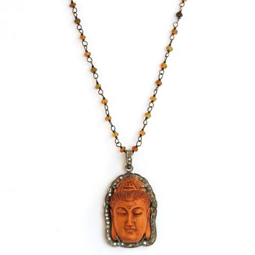 Diamond Buddha on Quartz Chain