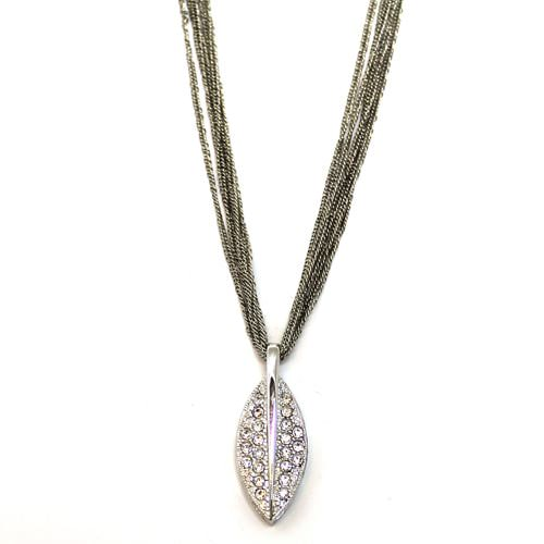Pave Leaf Shaped Pendant