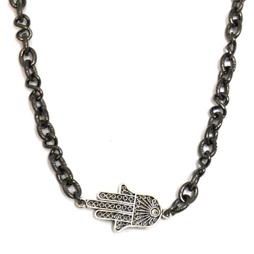 Gunmetal Hamsa Necklace