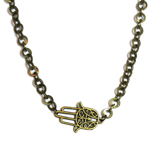 Sideways Bronze Hamsa Necklace