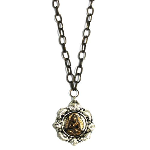 Silver and Bronze Buddha Necklace