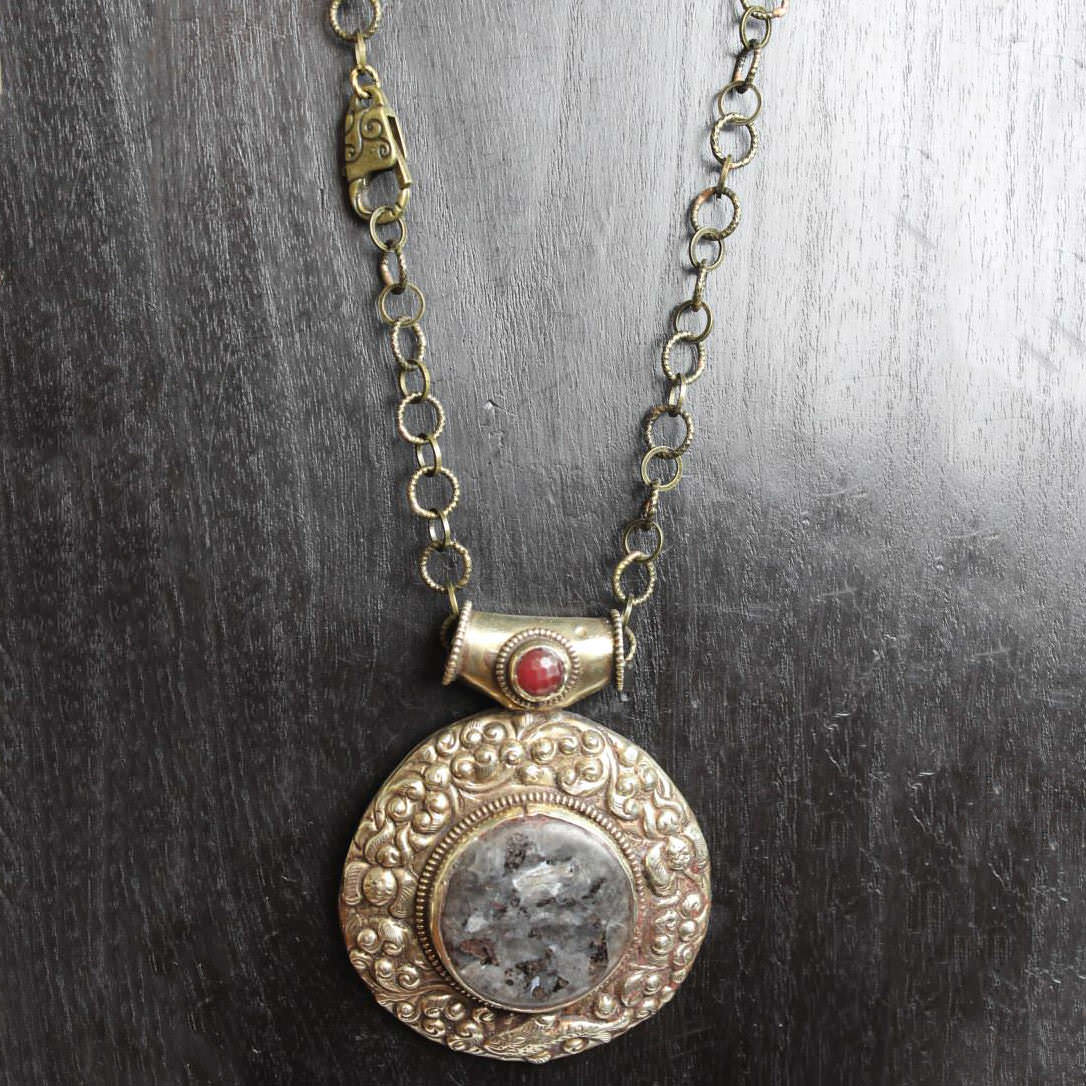 Large Granite Stone Disk Necklace