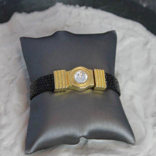 Leather Bracelet with Rhinestone