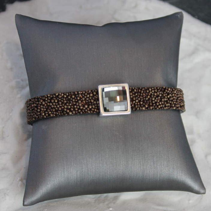 Smoky Square Rhinestone Bracelet