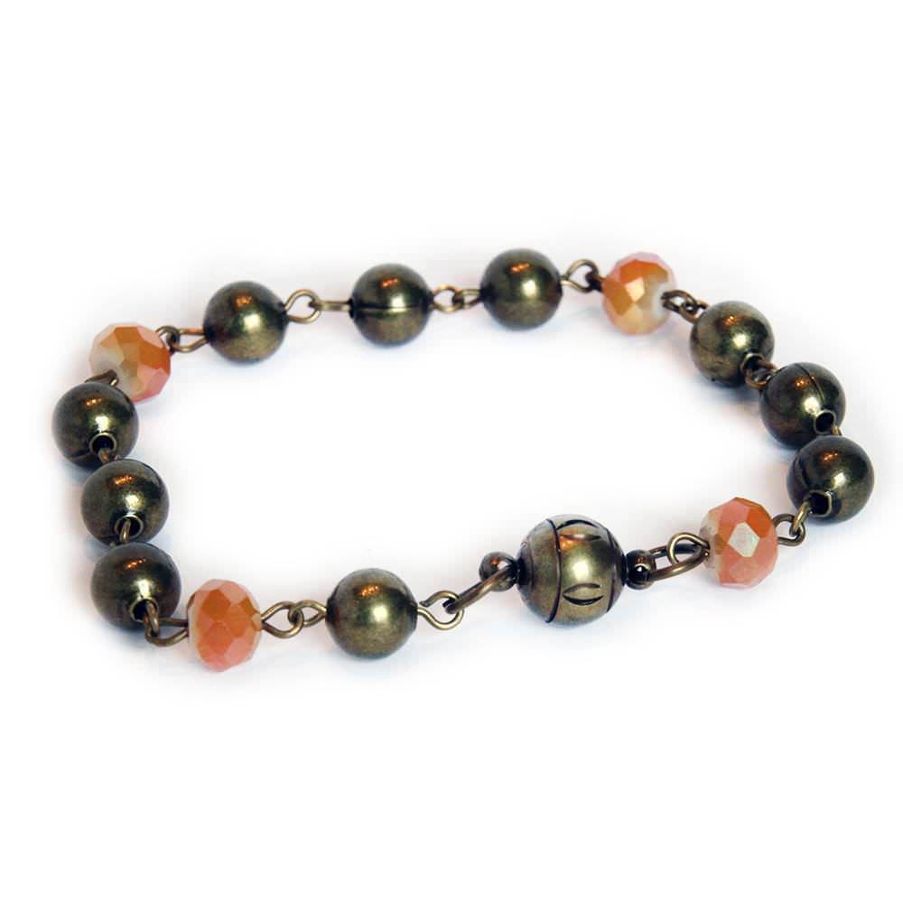 Bronze ball chain with gold orange colored beaded bracelet with magnetic clasp 6670