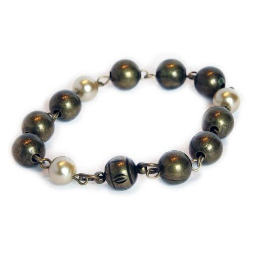 Bronze ball chain with pearl and pewter colored beaded bracelet with magnetic clasp 6671