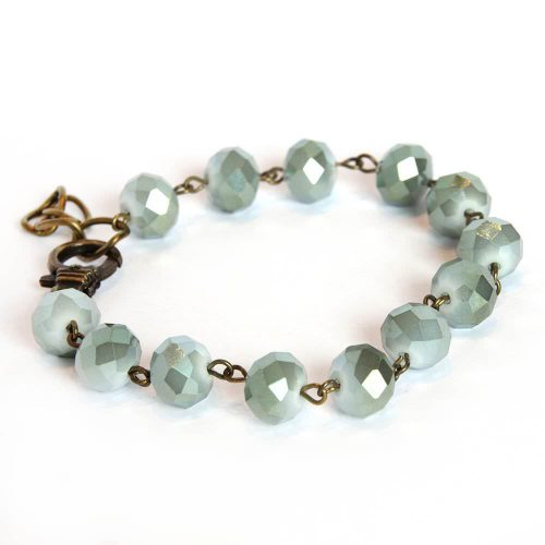 Czech Glass Milky Blue Beaded Bracelet with adjustable lobster Clasp 6666