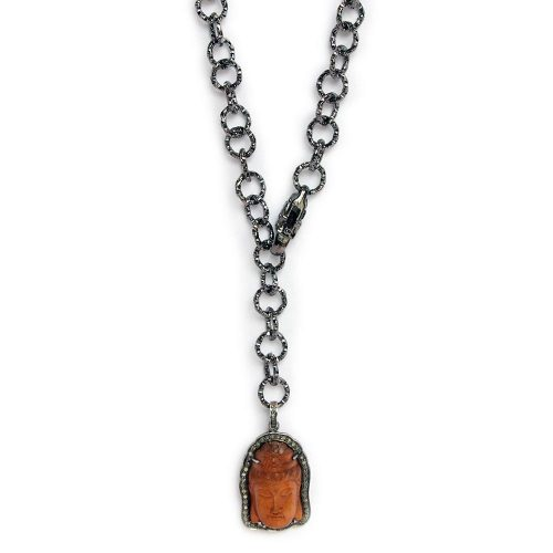 Diamond Encrusted Rust Colored Buddha on Gunmetal Hooped Chain with Adjustable Lobster Clasp 6656