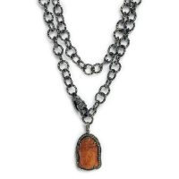 Diamond Encrusted Rust Colored Buddha on Gunmetal Hooped Chain with Adjustable Lobster Clasp 6657