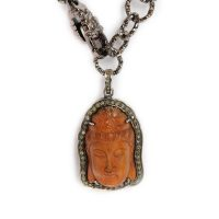 Diamond Encrusted Rust Colored Buddha on Gunmetal Hooped Chain with Adjustable Lobster Clasp 6658 closeup