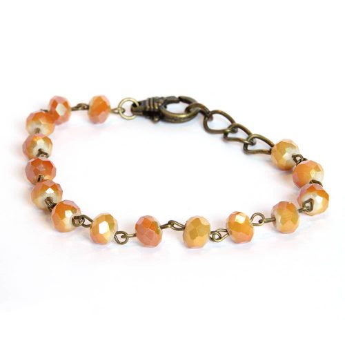 Gold and Orange Tone Czech Glass Beaded Bracelet with Adjustable Lobster Clasp 6663