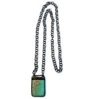 Hand Soldered African Opal Pendant Necklace on Gunmetal Chain