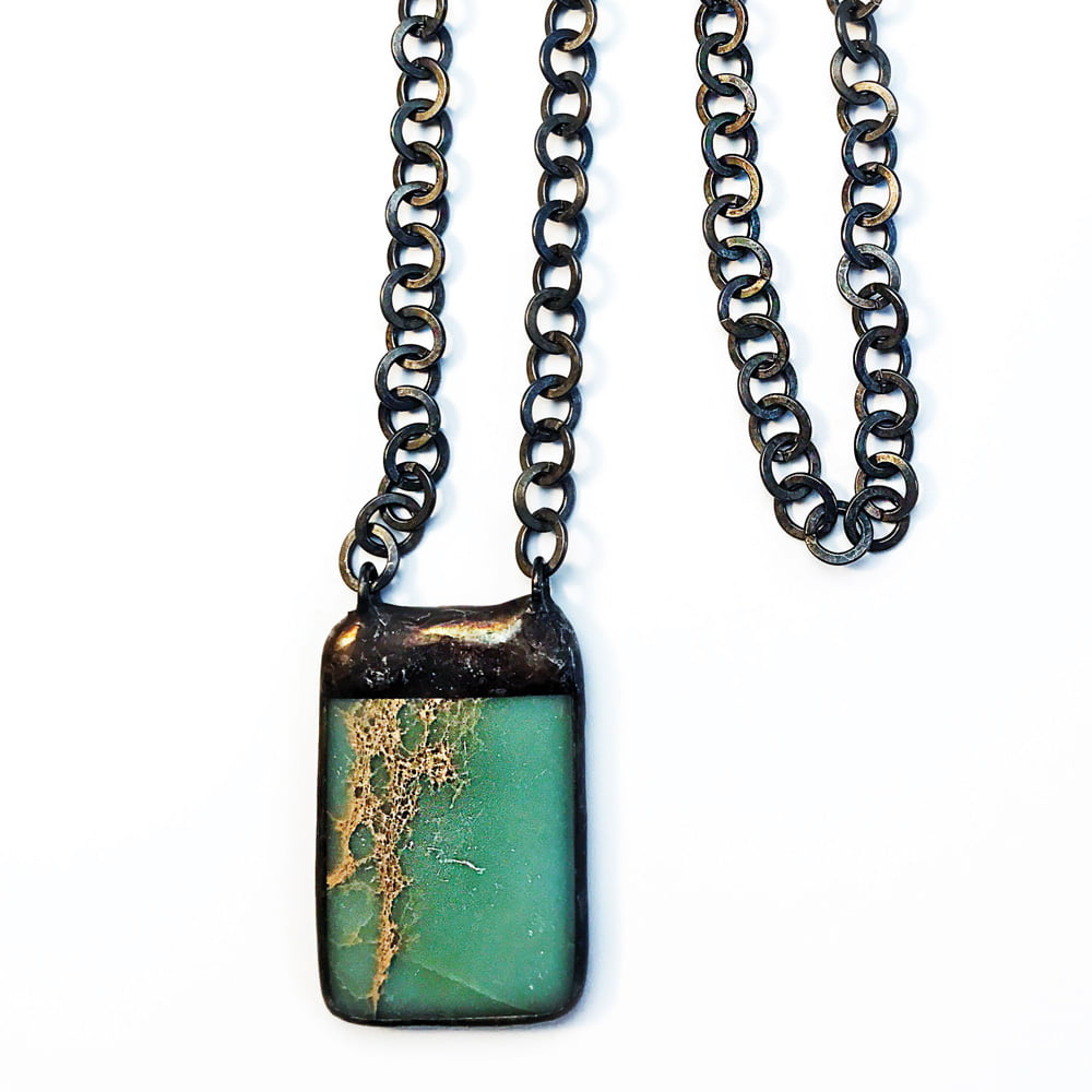 Hand Soldered African Opal Pendant Necklace on Gunmetal Chain - closeup
