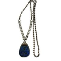 Large Hand Soldered Lapis Teardrop Gunmetal Hoop and Bronze Chain Pendant Necklace on Gunmetal Chain
