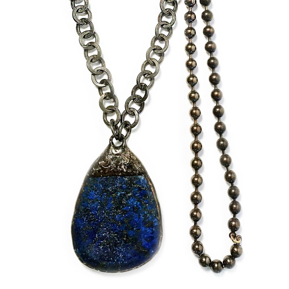 Large Hand Soldered Lapis Teardrop Gunmetal Hoop and Bronze Chain Necklace on Gunmetal Chain Closeup