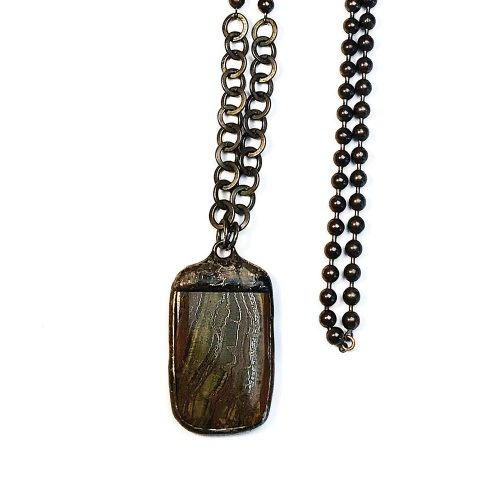 Hand Soldered Tiger Eye Necklace on Oxidized Gunmetal and Bronze Ball Chain closeup