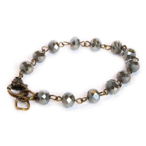 Irridescent Czech Glass Grey Silver beaded Bracelet with adjustable lobster clasp 6668