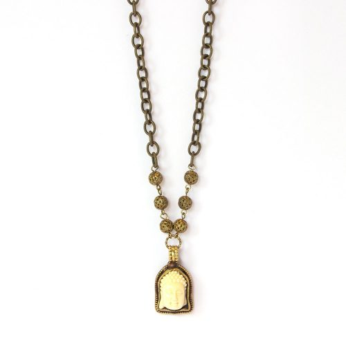 Ivory Toned Resin 1inch Tall Buddha Head Set in Bronze With Bronze Toned Beads Lobster Clasp and Adjustable Chain - 6952