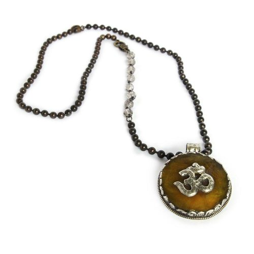 Large 2 inch Ohm Pendant Double Beaded 34 inch length 6550 a