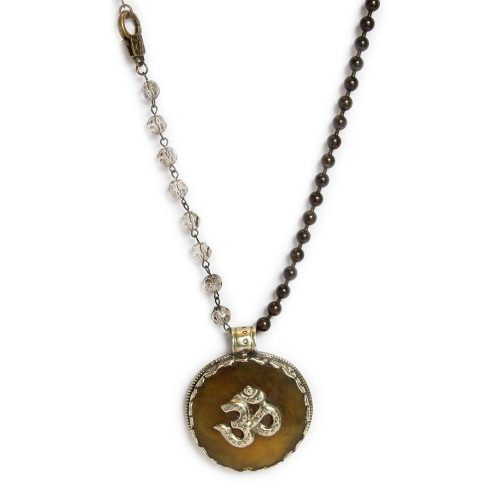 Large Om on Stone Pendant on Bronze ball chain and beads 6659