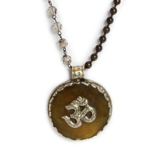 Large Om on Stone Pendant on Bronze ball chain and beads 6659 closeup