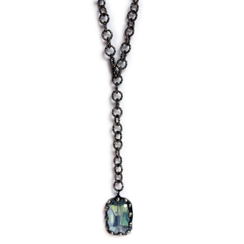 Large blue crystal on gunmetal chain 6609