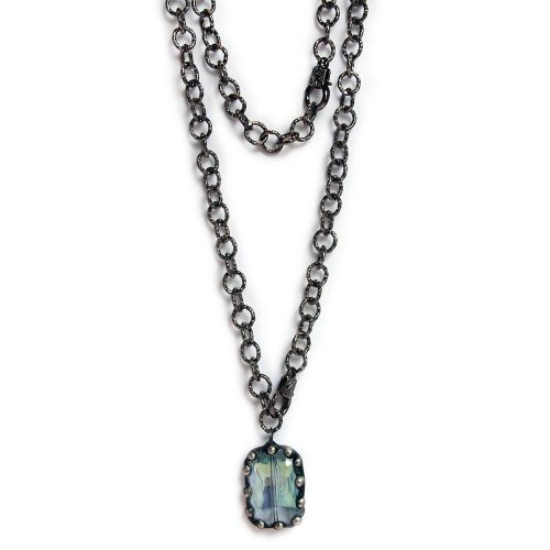 Large blue crystal on gunmetal chain 6610