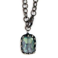 Large blue crystal on gunmetal chain 6615 closeup