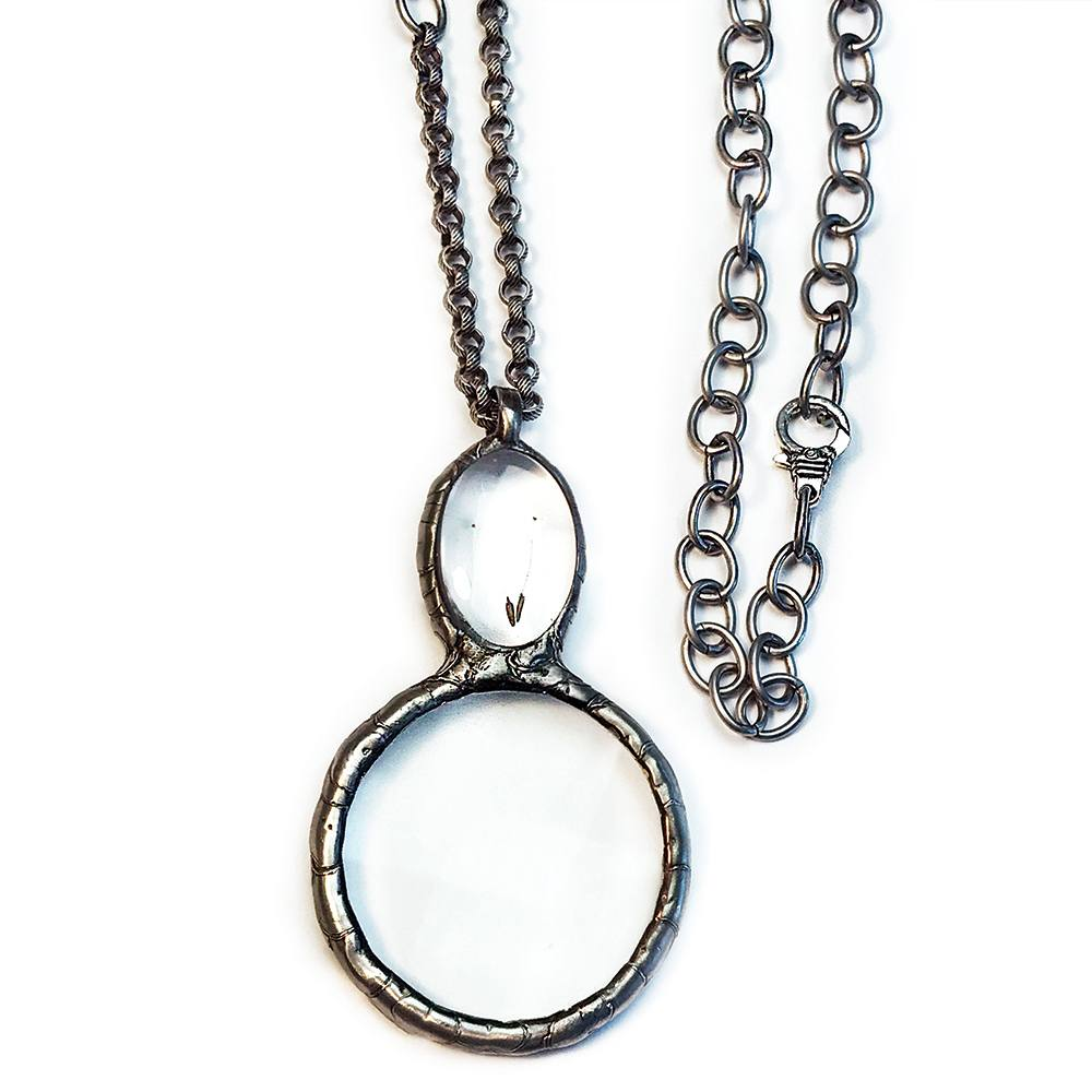 Double magnifying glass pendant necklace ella designs jewelry magnifying glass necklace on adjustable matte silver chain aloadofball Gallery