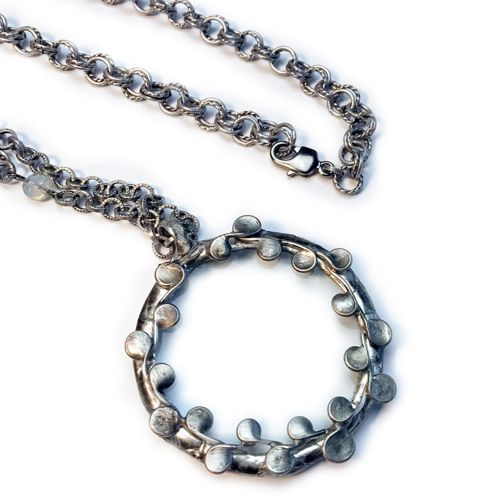 Magnifying Glass with Soldered Vines Necklace with Lobster Clasp
