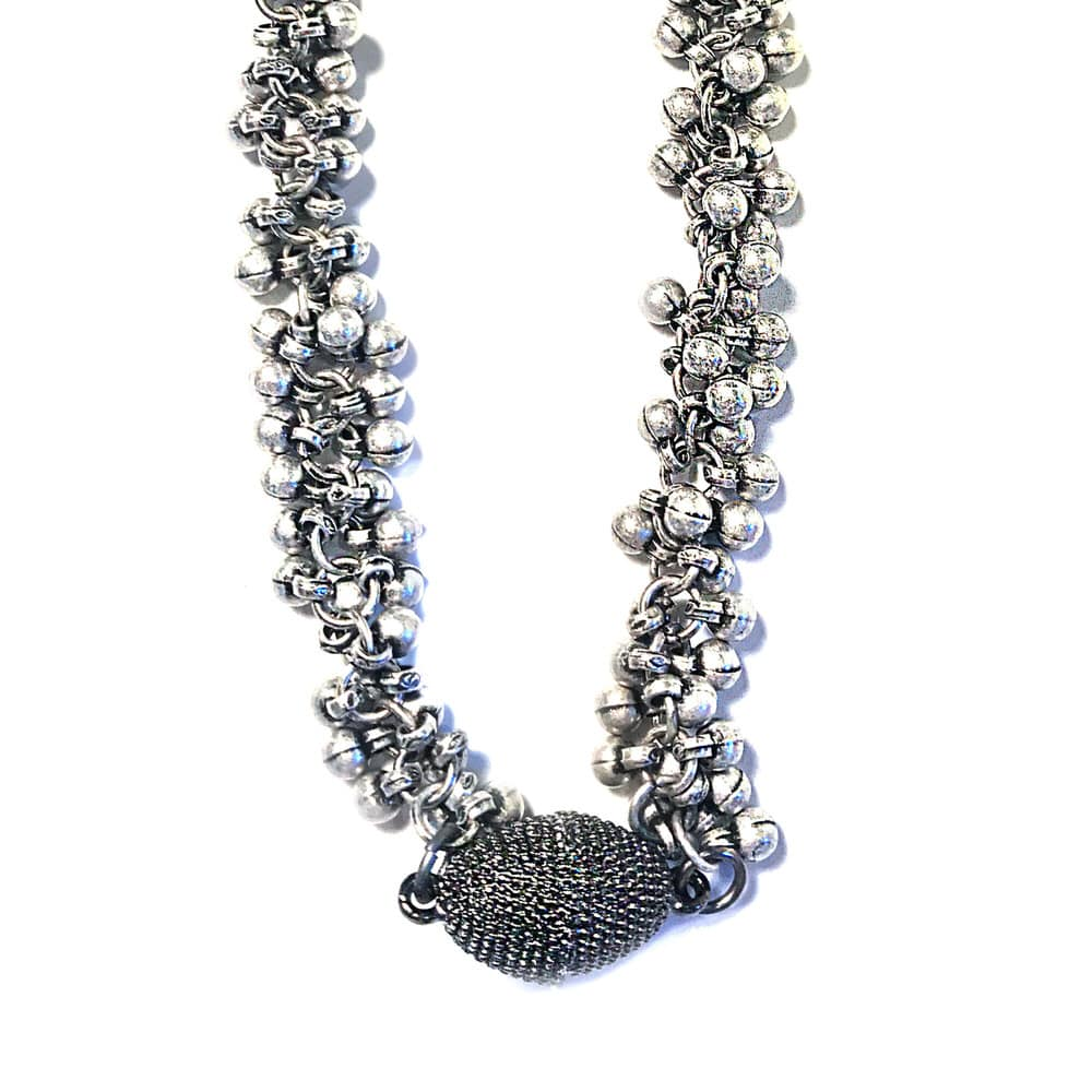 Matte Silver Multi-Ball Gunmetal Necklace Magnetic Clasp-closeup