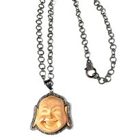 Pave Diamond Buddha and Wood Pendant Necklace