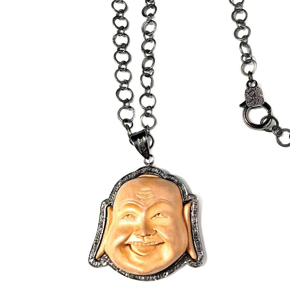 Pave Diamond Buddha and Wood Pendant Necklace closeup