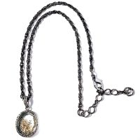 Pave Diamond Oval Locket with Diamond Dust Pendant Necklace on Adjustable Gunmetal Chain