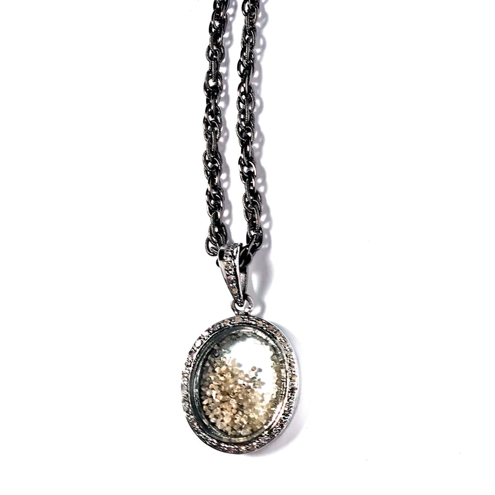 Pave Diamond Oval Locket with Diamond Dust Pendant Necklace on Adjustable Gunmetal Chain closeup