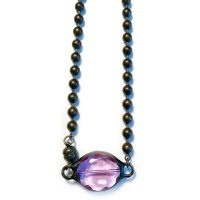 Purple Crystal Choker Necklace with Magnetic Clasp on Bronze Ball Chain