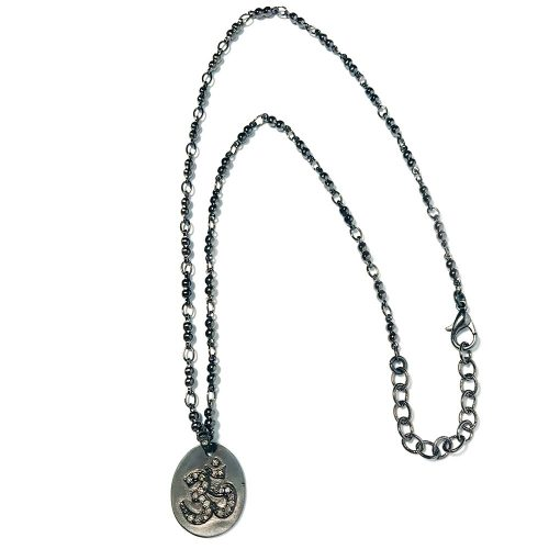 Spinel Om on Matte Silver Disc Pendant Necklace