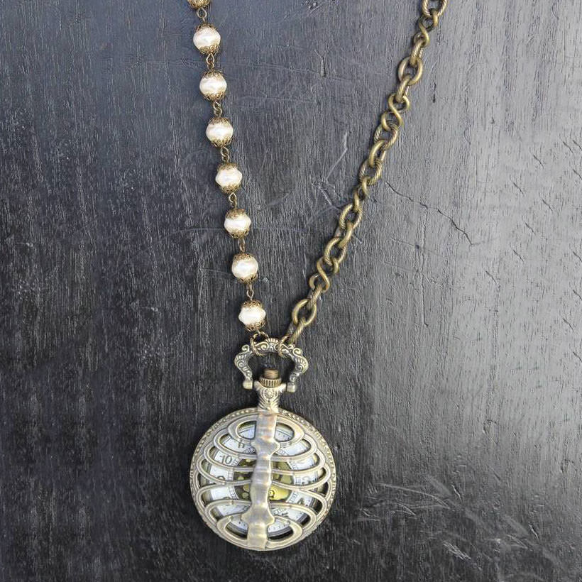 Scorpion Watch Pendant with Glass Pearl Beads