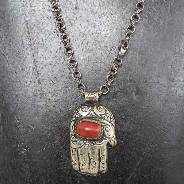 Large Hand Necklace with Red Stone
