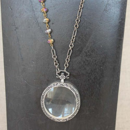 Antique Silver Magnifying Glass Necklace