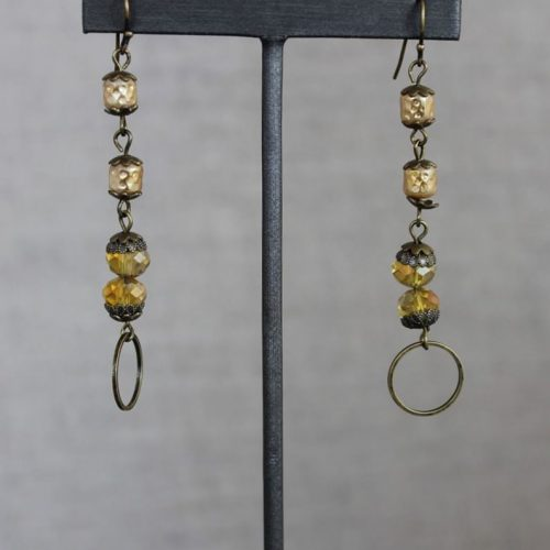 Glass Beaded Earrings with Hoop