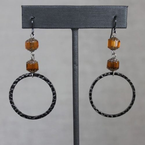 Hoops with Amber Czech Glass Beads