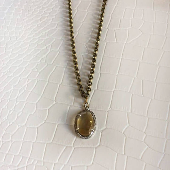 Citrine Necklace with Encrusted Pave Diamonds