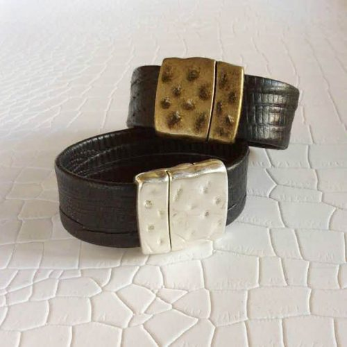 Silver or Bronze Leather Bracelet