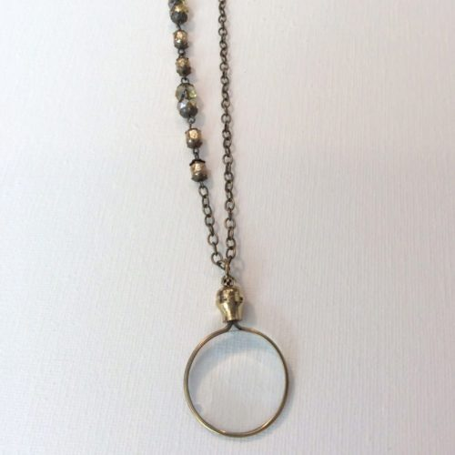 Gold Tone Magnifying Glass on Beaded Chain