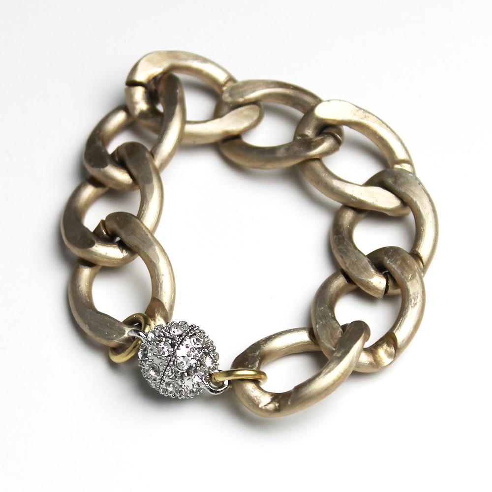 Large Matte Lightweight Aluminum Gold Tone Pave Magnetic Clasp Bracelet