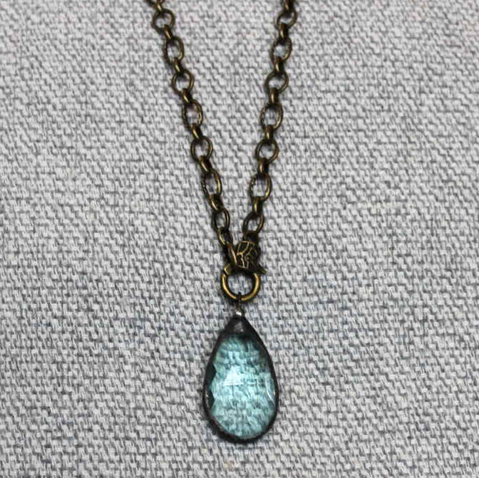 Light Blue Crystal Prism on Bronze Chain