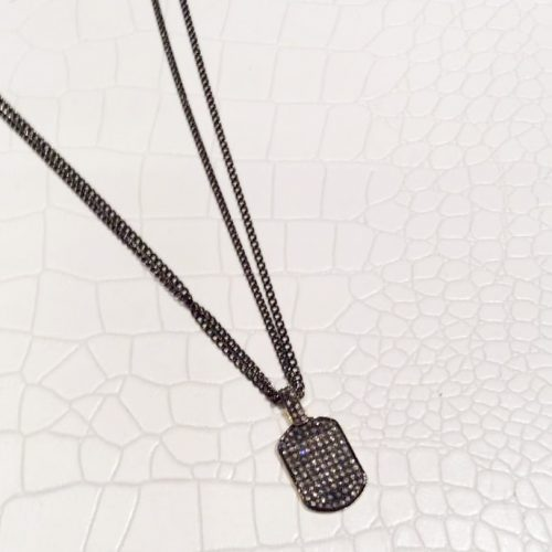 Pave Crystal Dog Tag on Double Gunmetal Chain